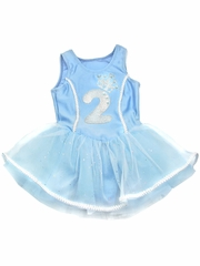 Blue Princess Birthday Tutu Dress w/ Sparkle Number Applique