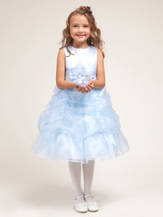 CLEARANCE - Blue Princess Gathered Organza Dress w/Satin Bodice