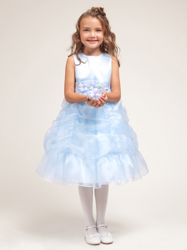 Blue Princess Gathered Organza Dress w/Satin Bodice