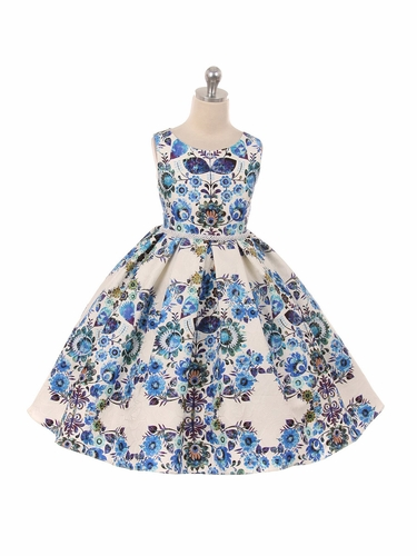 Blue Printed Floral Jacquard Dress