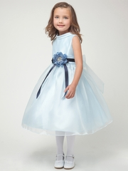 Blue Satin Trim Neckline w/Organza Skirt Dress