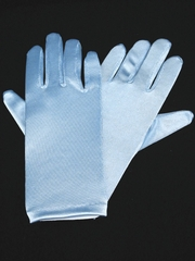 Blue Short Satin Gloves