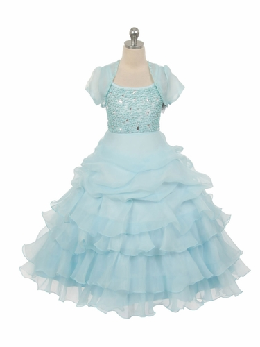 Blue Special Silk Organza Dress w/ Beaded Bodice & Bolero