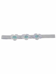 Blue Three Flower Infant Headband