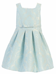 Blue Vintage Baroque Pleated Jacquard Dress