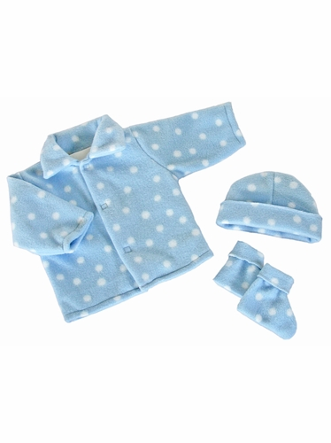 Blue w/ White Dots Poly Fleece Bootie Set