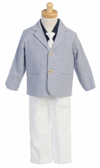 Blue/White Boys Striped Seersucker Suit w/Cotton Pants