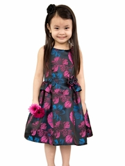 CLEARANCE - Blush By Us Angels Fuchsia Floral Brocade Dress
