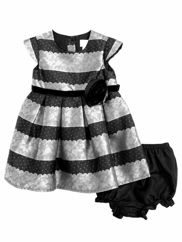 Blush by Us Angels Infant Silver Lace Stripe Brocade Dress
