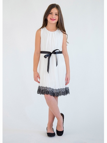 Blush By Us Angels Ivory Sleeveless Pleated Skirt w/ Black Lace Trim