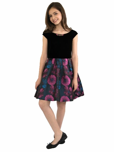 Blush By US Angels Velvet Pansy Brocade Dress