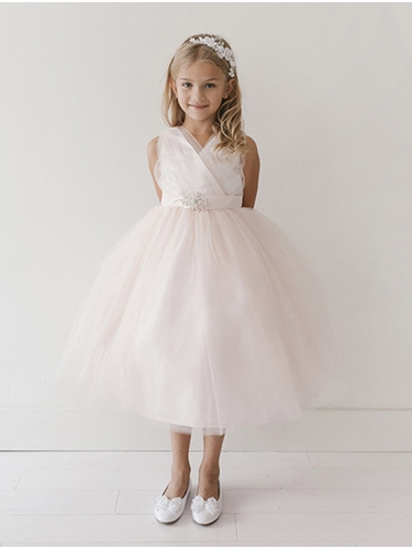 Blush Glitter V Neck Tulle Dress w/ Rhinestone Brooch