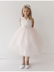Pink flower girl dresses pinkprincess blush glitter v neck tulle dress w rhinestone brooch mightylinksfo