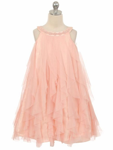 Blush Mesh Ruffle Dress