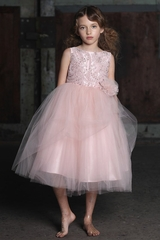 Blush Pink Beaded Embroidered Bodice Tulle Dress w/ Hand Rolled Rosette