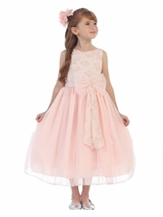 Blush Pink Embroidered Floral Bodice w/ Mesh Skirt & Bow