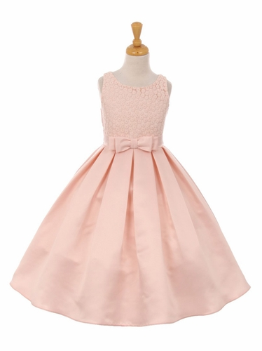 Blush Pink Floral Embroidery Dull Satin Dress