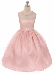 Blush Pink Mesh Lace Contrast Bodice w/ Jewel Accent & Voluminous Skirt