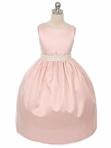Blush Pink Mesh Overlay Dress w/ Gem & Pearl Trim