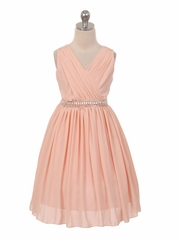 Blush Pink Ruched Bodice Sleeveless Dress w/ Stud Waistband