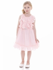 Blush Pink Ruffled Chiffon Dress w/ Brooch