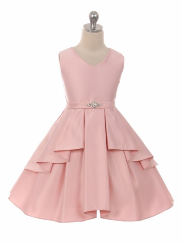 Blush Pink Satin Sleeveless V-Neck Dress w/ Ruffles