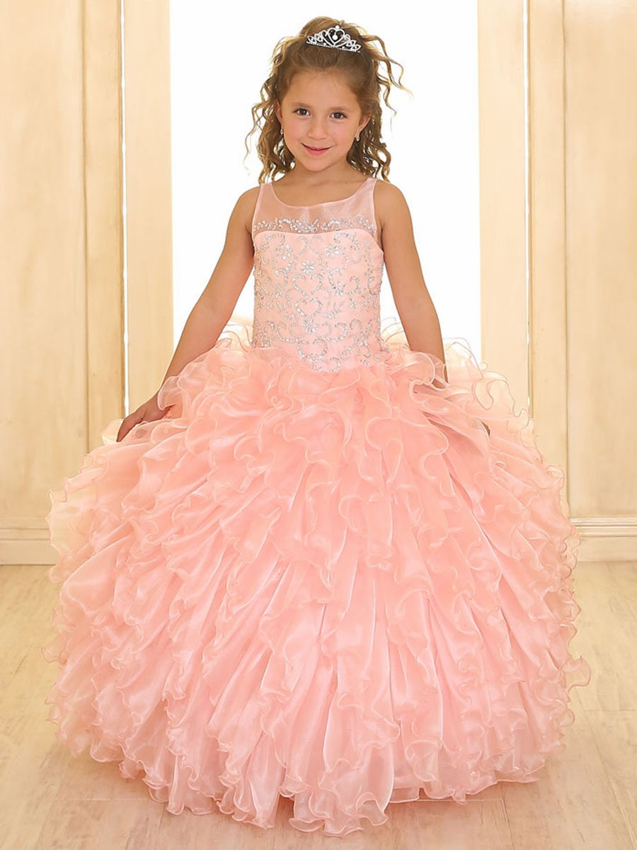 Blush Pink Scoop Neck Organza Ruffle Dress