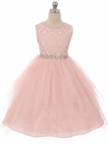 Good Girl 3573 Blush Pink Sleeveless Lace Contrast Double Tulle Dress w/ Bejeweled Waist