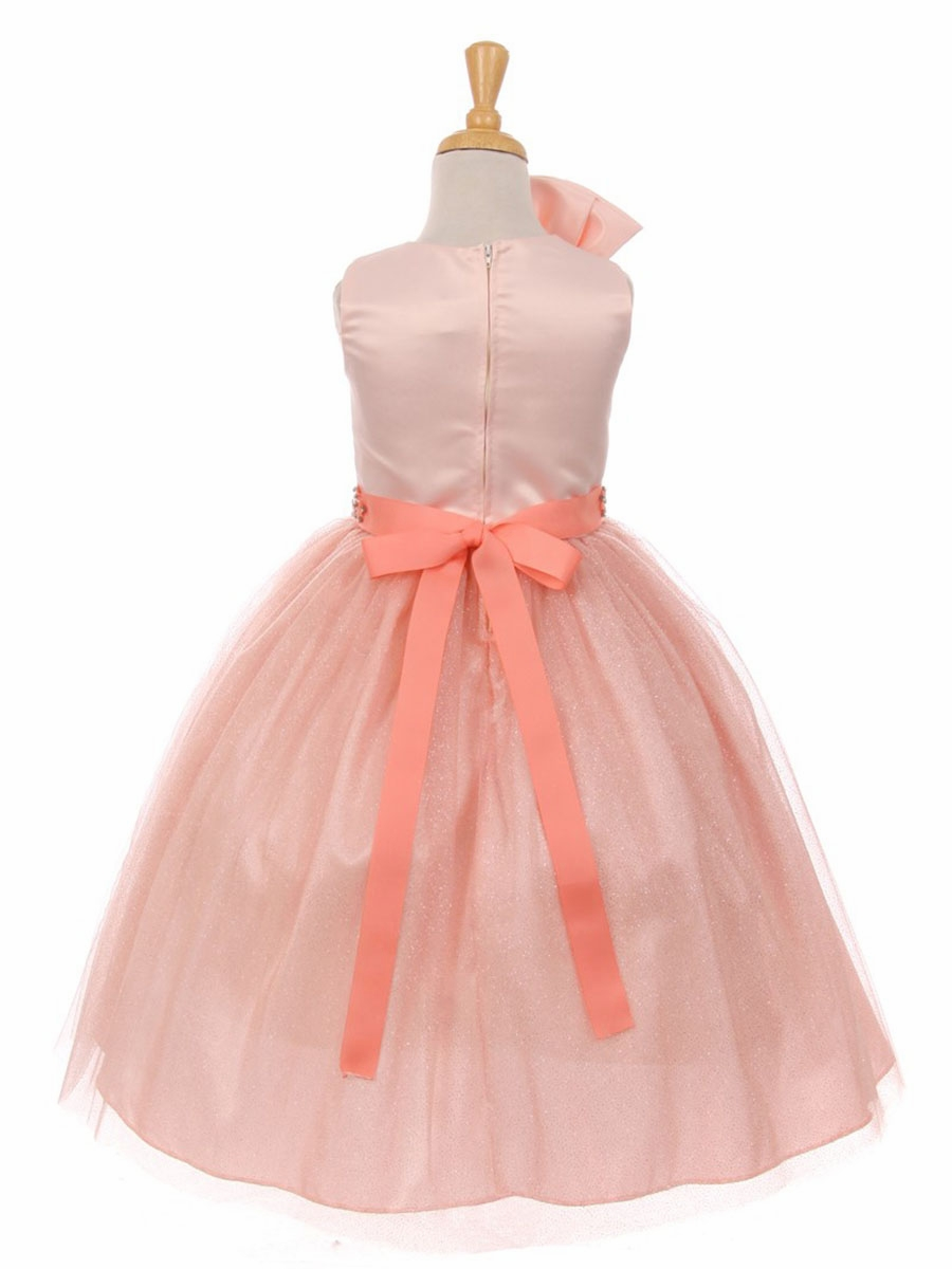 Blush Pink Sparkle Tulle Bow Dress