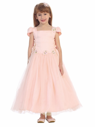 Blush Pink Tulle Overlay Princess Dress
