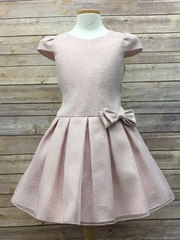 Blush Pleated Above-the-Knee Dress w/ Bow