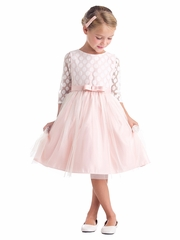 Blush Polka Dot Mesh w/ Satin Dress