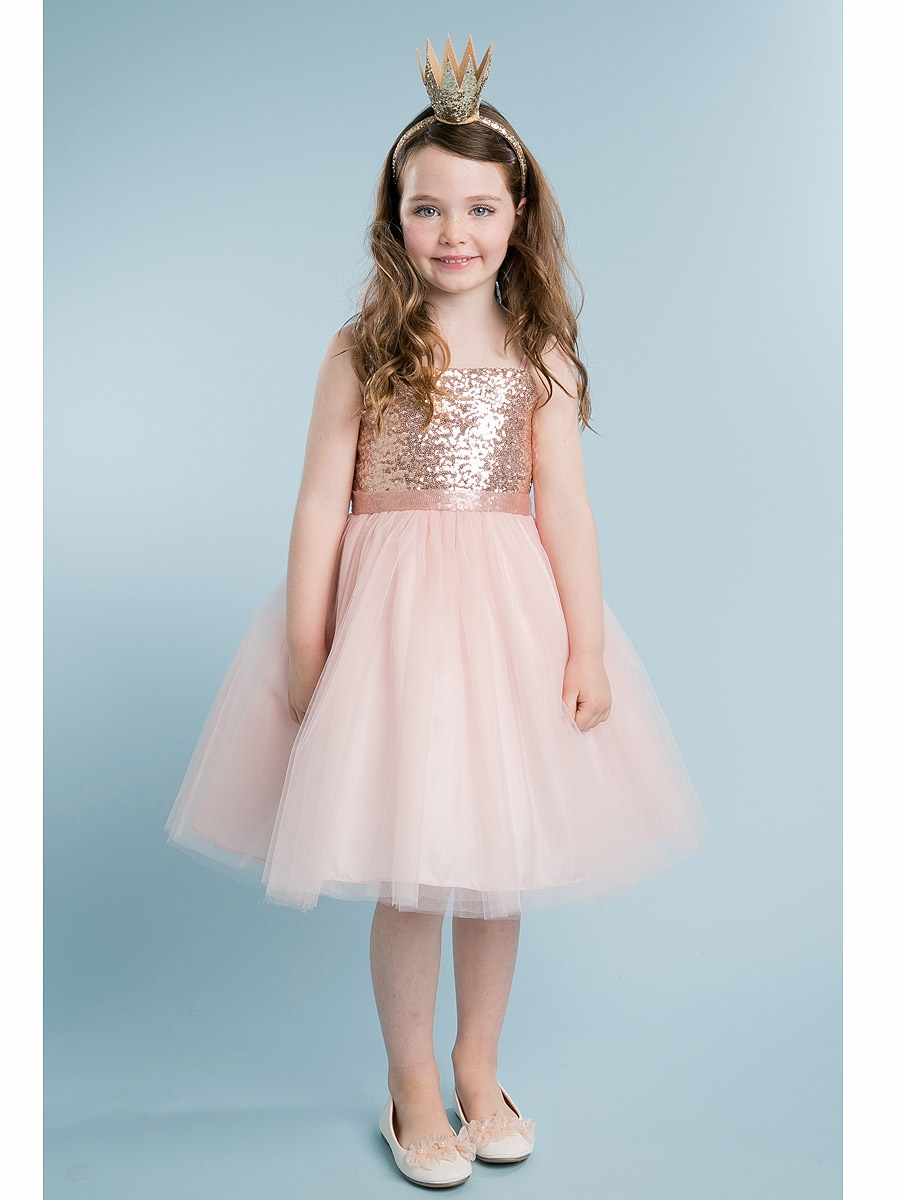 Blush Sequined Bodice w/ Tulle Skirt & Sash