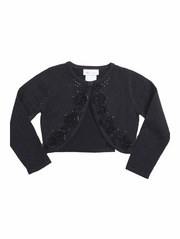 Bonnie Jean Black One Button Sweater w/ Rosette & Bead Trim