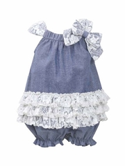 Bonnie Jean Chambray Bubble & Lace Romper
