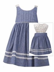 Bonnie Jean Chambray Dress w/ Lace Back
