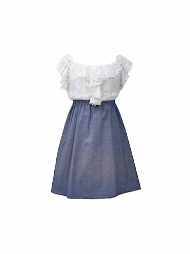 Bonnie Jean Chambray Skirted Dress w/ Lace Top