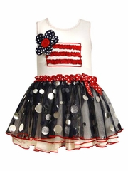 Bonnie Jean Flag Accented Tutu Dress