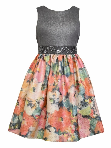 Bonnie Jean Floral Metallic Dress