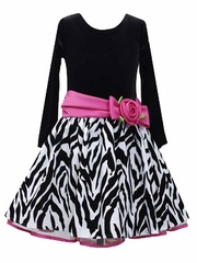 Bonnie Jean Long Sleeve Black Velvet Zebra Dress w/ Fuchsia Bow