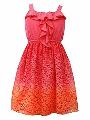 Bonnie Jean Ombr� Lace Skirted Dress