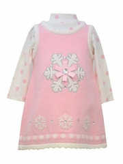 FLASH SALE: Bonnie Jean Pink Snowflake Sweater Dress
