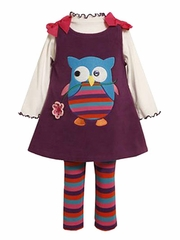 Bonnie Jean Purple Owl Dress Set