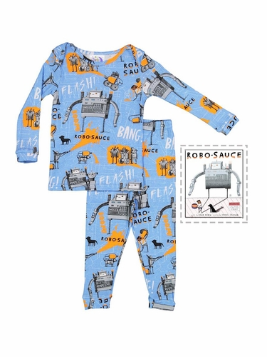 Books To Bed Blue Robosauce Pajama Set