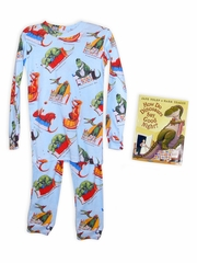 Books to Bed Dinosaurs Goodnight w/ Matching Blue Pajama Set