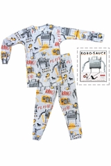 Books To Bed Grey Robosauce Pajama Set