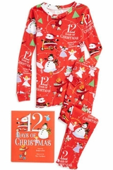 Books To Bed Red 12 Days of Christmas Long John Pajamas & Book Set