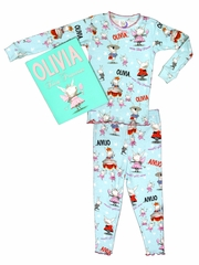 Books to Bed Turquoise Olivia w/ Bag & Ribbon Set