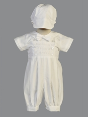 Boy's White Smocked Cotton Romper