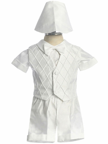 Boy's Whitw Satin Short Set